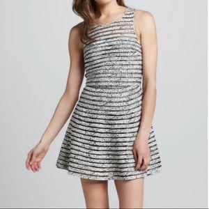 Parker Silk Mesh Striped Fit & Flare Dress sz M L